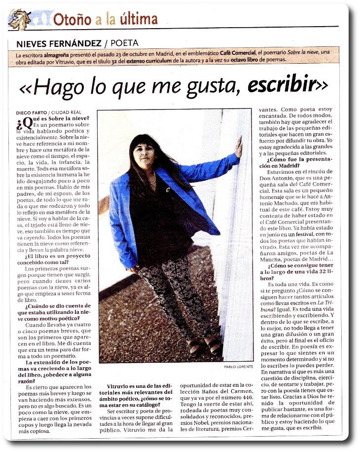 """Entrevista de Diego Farto en La Tribuna de Ciudad Real: """"Hago lo que me gusta, escribir"""""""