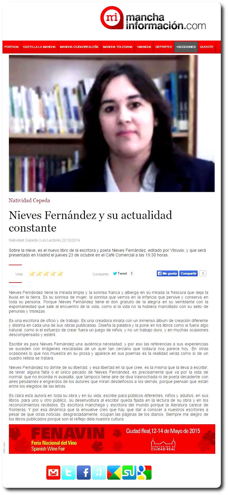 Nieves Fernández y su actualidad constante, artículo de Natividad Cepeda