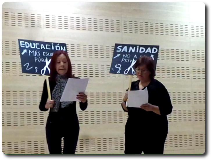 Angeles Laguna Álvarez y Isabel Rivas Díaz en la lectura dramatizada Casa de las Asociaciónes. Alcobendas (Madrid